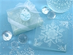 Frosted Snowflake Glass Coasters for a Winter Wedding