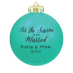 "Personalized 3 1/4"" round shatterproof holiday ornaments are the prefect wedding favor for your holiday wedding"