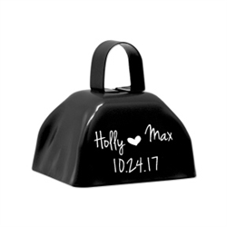Custom printed wedding cowbell in several colors