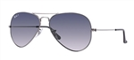 RB3025-004/78 - Aviator - Gunmetal w/Crystal Pol Blue Grad Grey lens