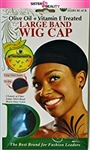 #22201 TREATED LARGE BAND WIG CAP / BLACK