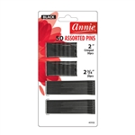 ANNIE BOB PINS 2″ & 2-3/4″ ASSORTED 50 CT BLACK #3102 (12 Pack)