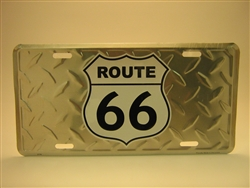 Diamond Plate Route 66 Shield License Plate