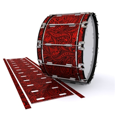 Dynasty 1st Generation Bass Drum Slip - Deep Red Paisley (Themed)