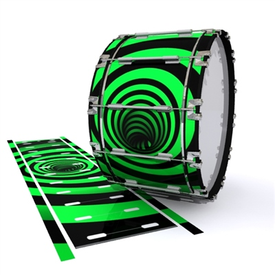 Dynasty 1st Generation Bass Drum Slip - Green Vortex Illusion (Themed)