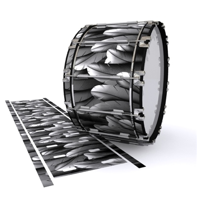 Dynasty 1st Generation Bass Drum Slip - Grey Feathers (Themed)