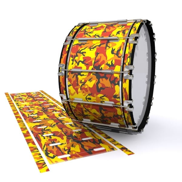 Dynasty 1st Generation Bass Drum Slip - November Fall Traditional Camouflage (Red) (Yellow)