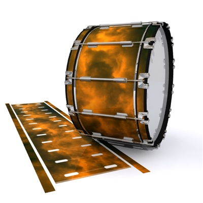 Dynasty 1st Generation Bass Drum Slip - Orange Smokey Clouds (Themed)