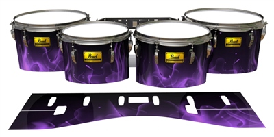 Pearl Championship Maple Tenor Drum Slips (Old) - Purple Flames (Themed)