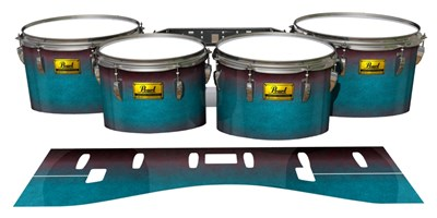 Pearl Championship Maple Tenor Drum Slips (Old) - Shark Attack (Aqua) (Red)