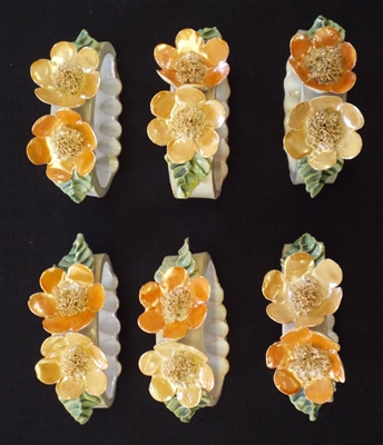 Antique Ceramic Flower Napkin Rings (6) Boxed - Sold