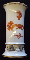Meissen Red Dragon Spill Vase on Scroll Feet - Sold