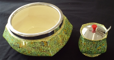 Royal Winton Grimwades 1930's Cloisonne Ware Large Bowl & Jam Pot - Sold