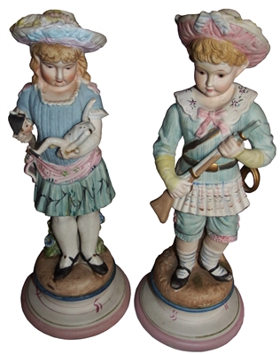 Large Polychrome Bisque Figures / Statues Boy & Girl German Ca 1880 - Sold