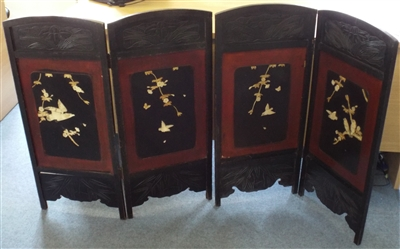 Antique Japanese Carved Wood and Soapstone Four Panel Screen Early 1900s - Sold