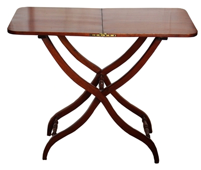 19th Century Folding Mahogany Coaching Table or Campaign Table