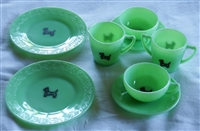 Original Jadeite Scottie Dog Child's Tea Set