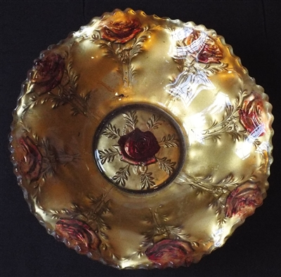 Goofus Carnival Glass Gold Rose Large Trifle Bowl - Sold