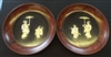 Shibiyama Lacquered Matching Wall Plaques with Bone and Mother of Pearl Inlay - Sold
