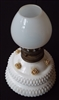 Milk Glass Oil Lamp with Applied Flowers - Sold