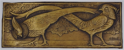 Art Deco bronze plaque of Chinese Pheasants signed R (Rene) Thenot