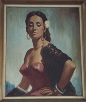 1960s Oil Painting of Spanish Lady - Sold