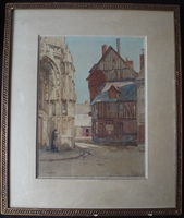 Philip Mitchell Signed Watercolour of Town Scene - Sold