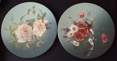 Victorian Painted Metal Wall Plaques with Flowers & Butterflies - Sold