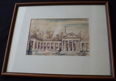 Watercolour Painting of the Wandehalle in Bad Oeynhausen 1947 Signed HR