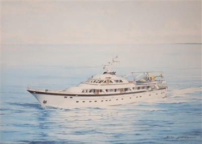 Brian Littlewood Signed & Dated 1979 Watercolour of Colonel Gadaffi's Yacht