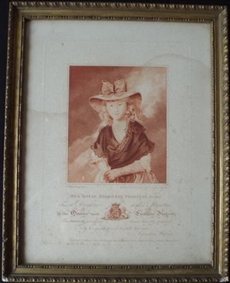 Caroline Watson 1785 Engraving of Princess Mary - Sold