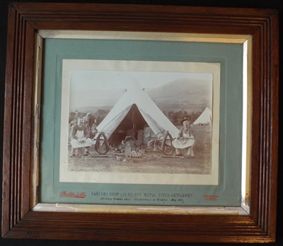 Framed Photograph of Saddlers Shop, 133rd Battery, Royal Field Artillery 1904 Knockenargen, Co Wicklow - Sold