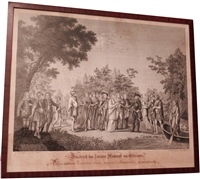 Original 1788 Framed Print Bartholomaeus Huebner Frederick the Great Arrives in Heaven - Sold
