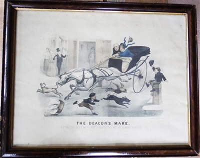Antique 1879 Lithographic Print Thomas B Worth Currier & Ives 'The Deacon's Mare'
