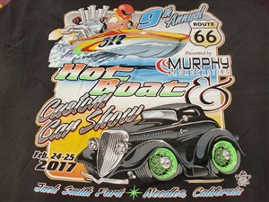 Route 66 Hot Boat & Car T-Shirt in Black