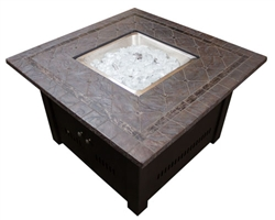 Square Faux Stone Gas Firepit