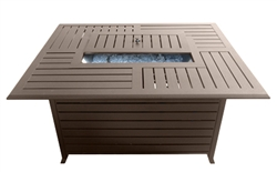 Rectangle Aluminum Slatted Fire Pit With Stainless Steel Propane Burner
