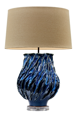 Blue Wave Ceramic Lamp