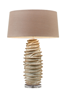 Layered Sandy White Coral Ceramic Lamp