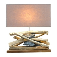 Bleached Teak and Natural Stone Table Lamp