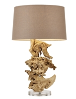Bleached Teak Table Lamp