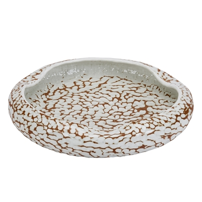 White & Earth Tone Glazed Platter V157