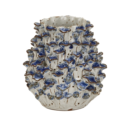 Hand Made Blue & White Coral Vase V176