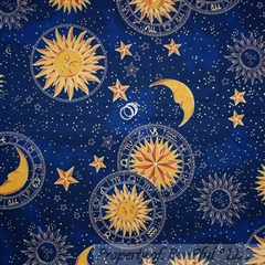 BonEful Fabric Cotton Quilt Navy Blue Gold Celestial Moon Star Sun Planet SCRAP