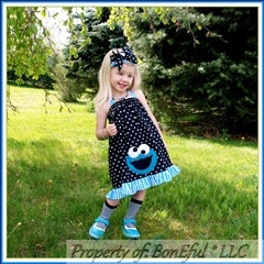 3T Cookie Monster Dress Set