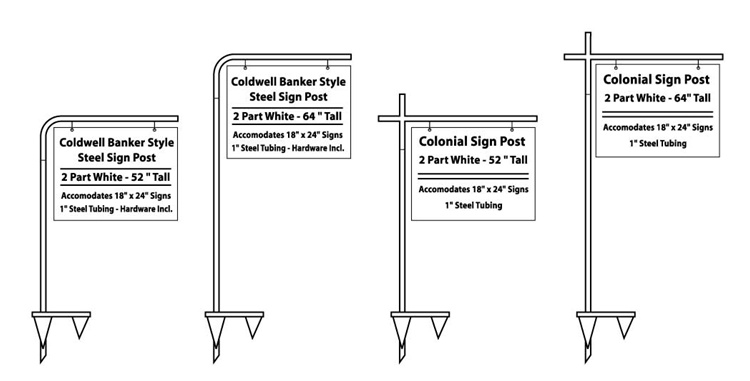 1 Tube High Gloss White Steel Posts Come In Curved Or T Style Designs And Accommodate Up To 24 Wide Signs Post Comes Either 52 64 Height