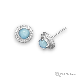 RHODIUM PLATED LARIMAR & CZ EARRINGS & PENDANT SET