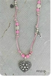 HEART CHARM NATURAL STONE NECKLACE & BRACELET SET