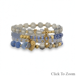 MULTICHARM GOLDTONE FASHION STRETCH BRACELETS - SET OF 4