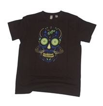 Aina Clothing black organic cotton sugar skull t-shirt with water based ink. Super soft and printed in the United States.